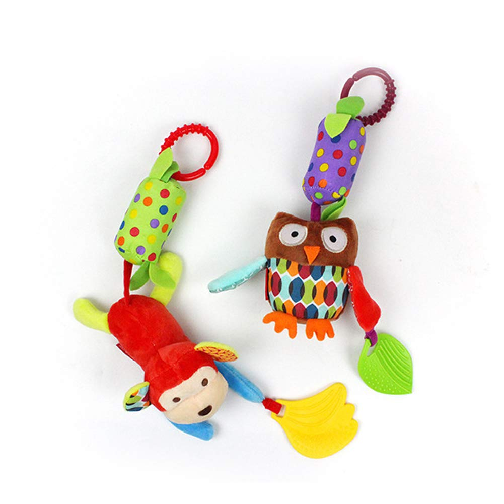 Infant Stroller Car Seat Crib Travel Activity Plush Animal Wind Chime with Teether for Boys Girls by Sportsvoutdoors Soft Hanging Rattle Baby Rattle Toys Crinkle Squeaky Toy