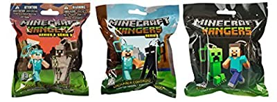 Minecraft Hangers Three Blind Bag Bundle: One Bag from Series 1, One Bag from Series 2, One Bag from Series 3