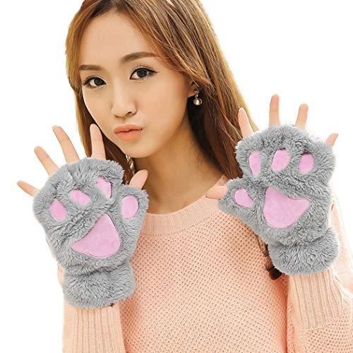 Aniwon Lovely Cat Claw Bear Paw Winter Plush Gloves Mitt for Women Girls -