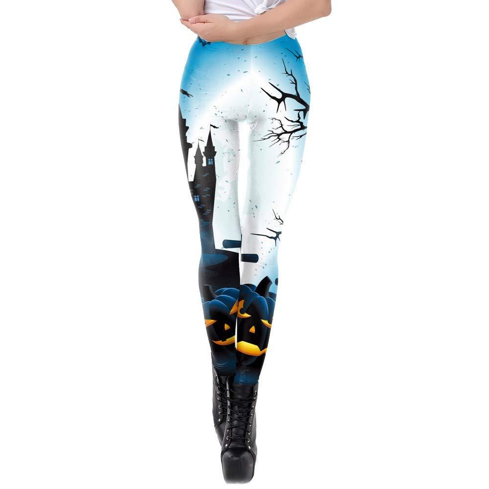 iZHH Women Stretchy Pencil Pants Casual Happy Halloween Pumpkin Leggings Skinny(Blue,30)