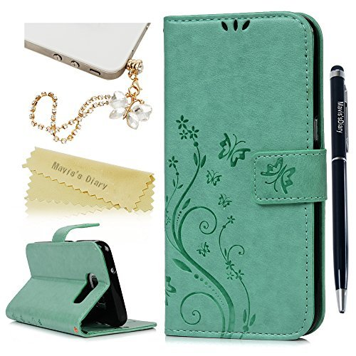 Galaxy S7 Edge Wallet Case - Mavis's Diary Fashion Floral Butterfly Embossed PU Leather Magnetic Flip Cover Card Holders & Wrist Strap for Samsung Galaxy S7 Edge with Bling Dust Plug & Pen - Green (Samsung Galaxy S7 Edge Clear View Case Review)