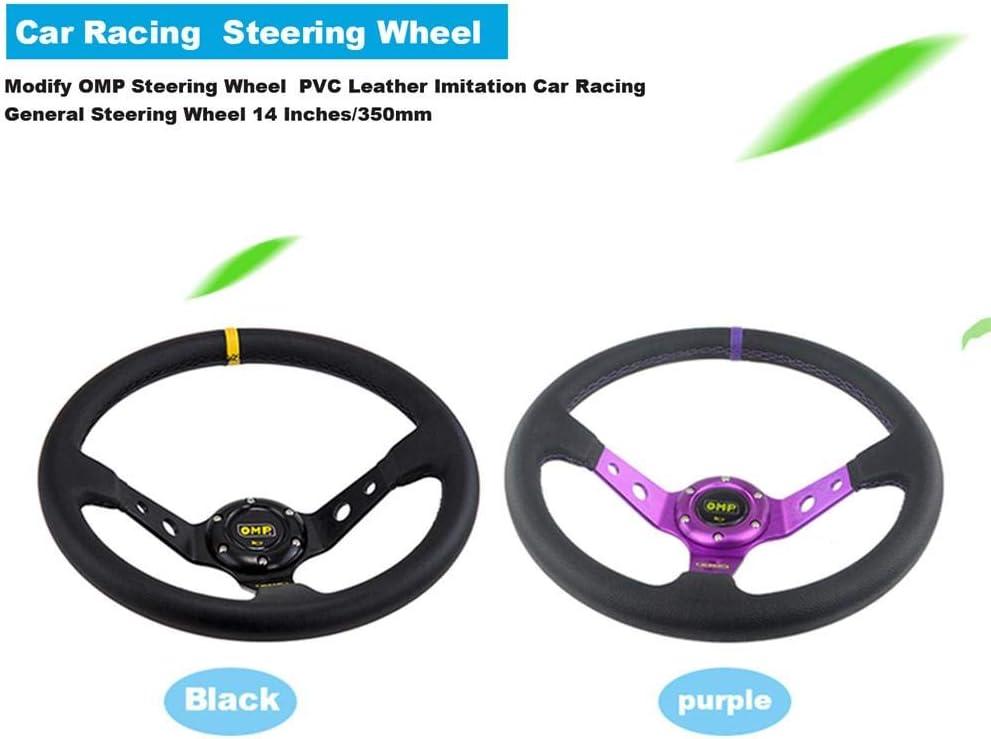 Modify OMP Steering Wheel PVC Leather Imitation Car Racing General Steering Wheel 14 Inches//350mm Snow-Day Steering Wheel