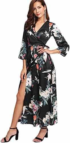 22ce0131187 Milumia Women s Boho Deep V Neck Floral Chiffon Wrap Split Long Maxi Dress
