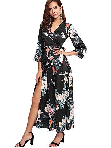 Floral Chiffon Wrap (Milumia Women's Boho Deep V Neck Floral Chiffon Wrap Split Long Maxi Dress Black Large)