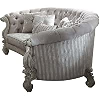 ACME Versailles Ivory Velvet Sofa with 5 Pillows