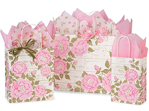 Gift Bags, Assorted Sizes, Bundled with Coordinating Tissue Paper and Raffia Ribbon (Cottage (Floral Gift Bags)