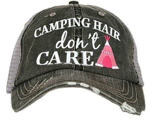 Katydid Camping Hair Dont Care Womens Trucker Hat-gray/hot pink