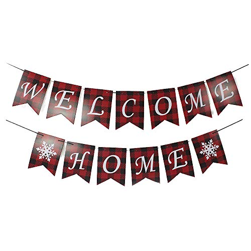 (MAGQOO Welcome Home Banner with Snowflake for Home Decoration Family Party Supplies Photo Booth Prop)