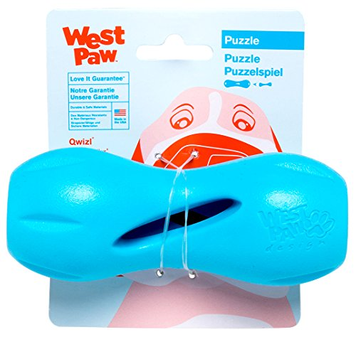 West Paw Zogoflex Qwizl Interactive Treat Dispensing Dog Puzzle Treat Toy for Dogs, 100% Guaranteed Tough, It Floats!, Made in USA, Small, Aqua Blue - Treat Dispensing Chew Toy