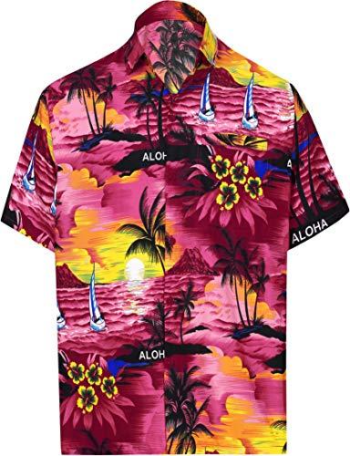LA LEELA Likre Short Sleeves Collar Shirt Pink 291 3XL  Chest 60-64