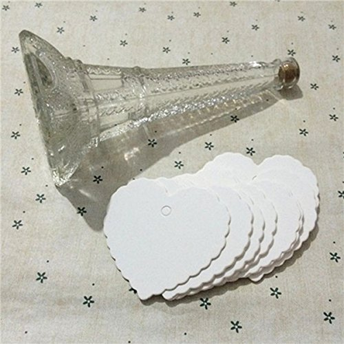 50 Pieces White Heart Shape Kraft Paper Hang Tags Party (Scalloped Lace Pen)