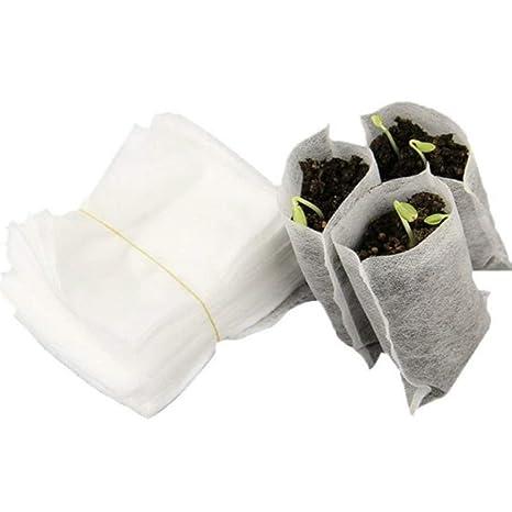 Heaviesk 100 UNIDS/Bolsa Semillas Biodegradables Vivero Bolsas Vivero Macetas de Transplantes de Vegetales Cría de Macetas Jardín Bolsa de siembra