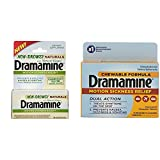 Dramamine Non-Drowsy Naturals with Natural Ginger, 18 Tablets & Dramamine Motion Sickness Relief Chewable Tablets, Orange Flavored, 8 Tablets
