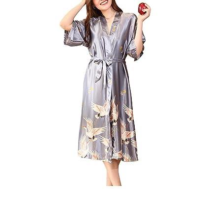 XJKLFJSIU Sexy Imitación Cardigan De Seda Bata De Baño/Pijamas/Impresa Vestido De Encaje