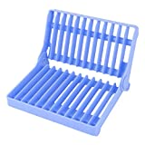 uxcell Plastic Kitchen Foldable Drying Drainer Tray Cutlery Holder Organizer Storage Dish Rack Blue