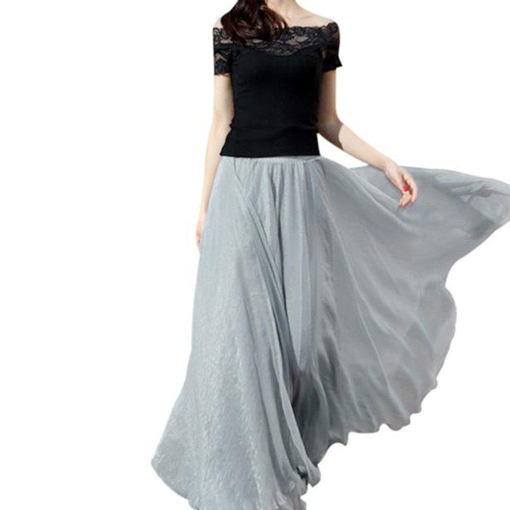 DEATU Clearance Women Maxi Skirts Ladies Girls Elastic Waist Chiffon Long Beach Dress Free Size) DEATU-Womens Skirts