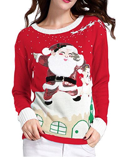 [Ugly Christmas Sweater, V28 Women's Ladies Girl Xmas Lighting Santa Deer Jumper(Red M)] (Xxl Santa Suits For Sale)
