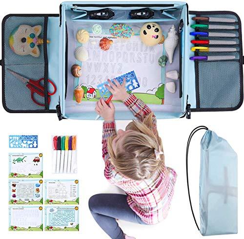 Kids Toys Bandejas de Viaje,Mesa Coche para Niños Bandeja de Comida y Bocadillos Asiento de Auto para Cochecito , Avión,con Bandeja De Coche para Dibujar para Dibujar Ideal para Actividades