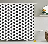 Ambesonne Sports Decor Collection, Soccer Ball Pattern Athletic Sport Themed Geometric Modern Artistic Design, Polyester Fabric Bathroom Shower Curtain, 75 Inches Long, Black and White