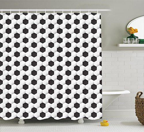 Ambesonne Sports Decor Collection, Soccer Ball Pattern Athletic Sport Themed Geometric Modern Artistic Design, Polyester Fabric Bathroom Shower Curtain, 75 Inches Long, Black and White by Ambesonne