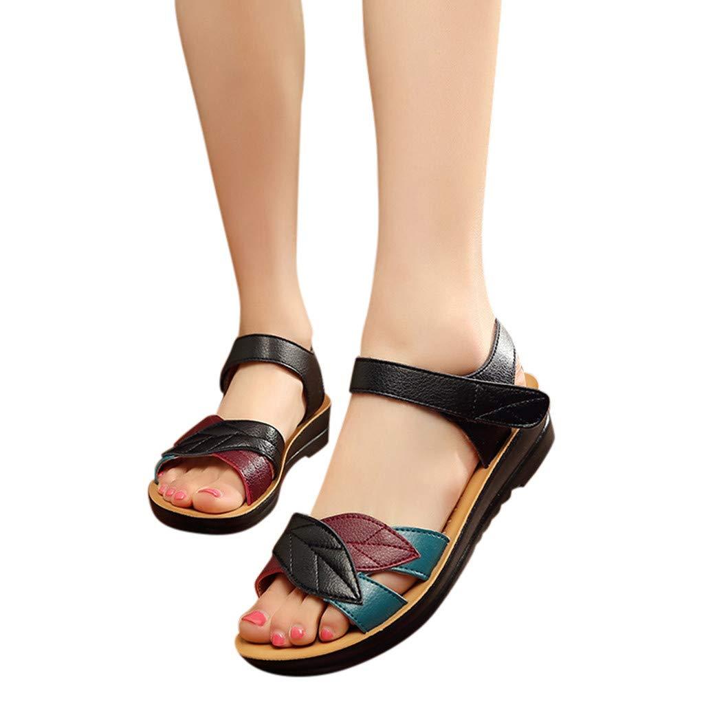❤️ Sunbona Women Wedges Heels Slippers Cross Strap Chunky Heel Sandal Thick High-Heeled Flip Flop Open Toe Dress Sandal
