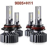 H11 9005 LED Headlight Bulbs Hi Lo Beam,Combo Package (2 sets) Seoul CSP Led Chips-12000LM 6000K Xenon White,1 Yr Warranty