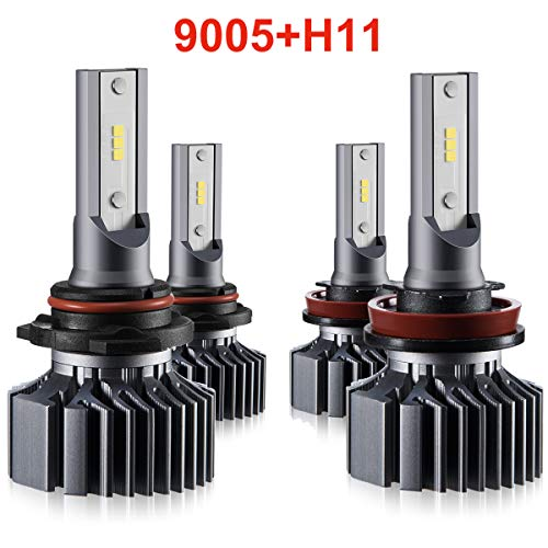 (H11 9005 LED Headlight Bulbs Hi Lo Beam,Combo Package (2 sets) Seoul CSP Led Chips-12000LM 6000K Xenon White,1 Yr Warranty)