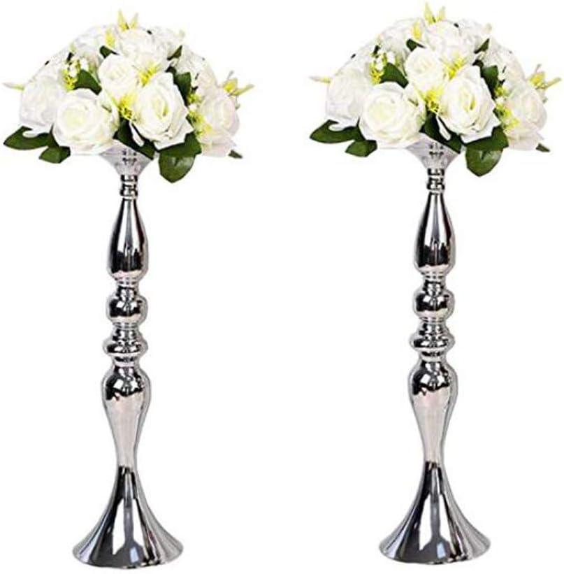 LANLONG 2pcs bougeoirs en m/étal argent/é Blanc argent/é 50cm argent/é, 12.5 20  bougeoir en Forme de Fleur en Forme de bougeoir en Forme de Route