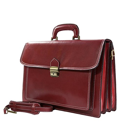 VALENTO rot Aktentasche / Arbeitstasche in echtem Leder aus Italien, Carelli Italia