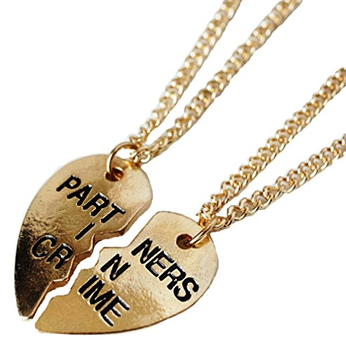 PARTNERS IN CRIME 2-Piece Split Heart Goldtone PENDANT SET with (Two Partner Costumes)