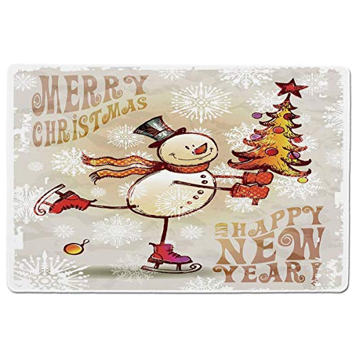 (SCOCICI Premium-Textured Mouse Mat Pad Skating Happy Snowman with Christmas Tree Cheerful Hand Drawn Ornate Snowflakes,Non-Slip Rubber Base Mousepad,for Laptop,Computer,PC,Keyboard (23.6x15.7 inch))