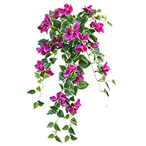 Mynse 2 Pieces Hanging Artificial Bougainvillea Glabra Flowers for Outdoor Decoration 46