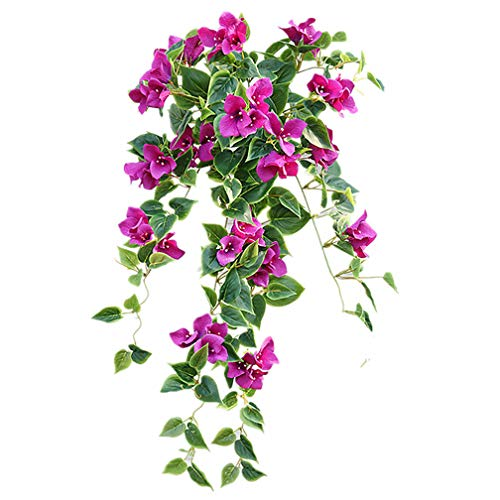 Bougainvillea Hanging - Mynse 2 Pieces Hanging Artificial Bougainvillea Glabra Flowers for Outdoor Decoration
