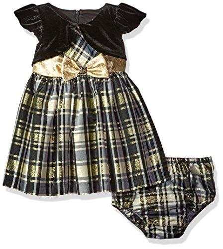 Taffeta Christmas Holiday Dress - Bonnie Baby Taffeta Plaid Party Dress, Gold, 12 Months