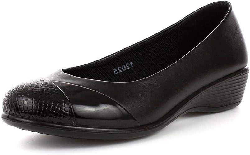 Softlites Womens Black Slip On Wedge