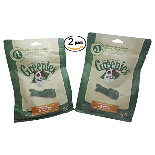 2 Pack Green Dental Chew Treat for Small Breed 15-25 lbs (Greenies Plaque & Tartar control)