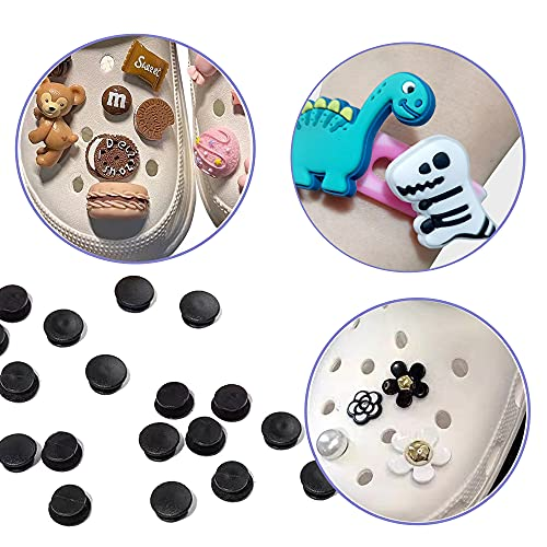 TACVEL 320Pcs Black Buckle Plastic Button Accessories, Suitable for Shoe Charm, Wristband Charm Backs, DIY Ornaments(3 Sizes, 10mm/12mm/13mm)