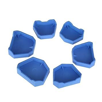 Anself 6pcs Dental Model Base Set Dental Lab Former Base Kit Dental Mold  Plaster Base Large Middle Small Size