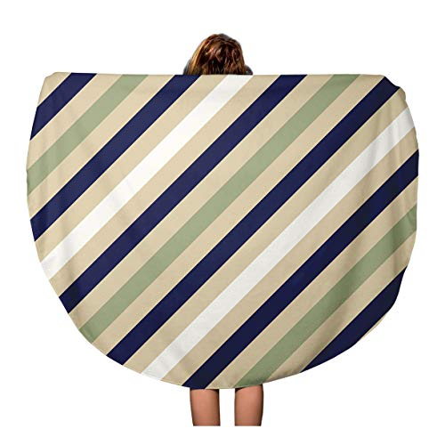 Tinmun 60 Inches Round Beach Towel Blanket Geometric Pattern Stripy for Neck Tie Diagonal Contrast Strips Travel Picnic Carpet Yoga Mat ()