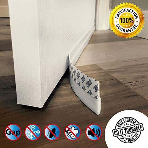 Door Draft Stopper – High Performance Silicone Door Sweep w VHB Adhesive 3M Strip   Draft Blocker for Under Door Seal Gap Interior & Exterior Doors Weather Stripping Soundproof   Draft Guard Insulator