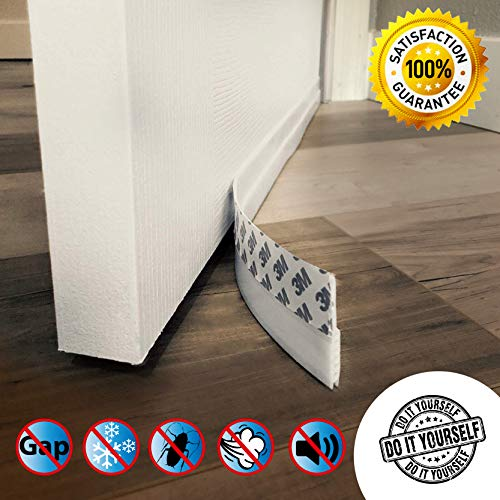 (Door Draft Stopper – High Performance Silicone Door Sweep w VHB Adhesive 3M Strip | Draft Blocker for Under Door Seal Gap Interior & Exterior Doors Weather Stripping Soundproof | Draft Guard Insulator)