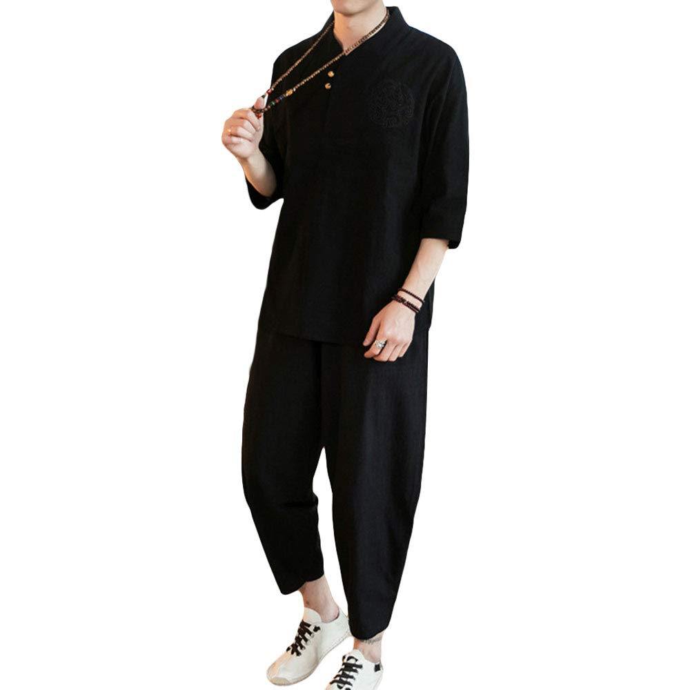 ZooBoo Chinese Clothing Tang Suit - Traditional ChinaCostume Martial Arts Tangzhuang Kung Fu Short Sleeve Shirt Linen Nine Pants for Men - Cotton and Linen (S, Black) by ZooBoo
