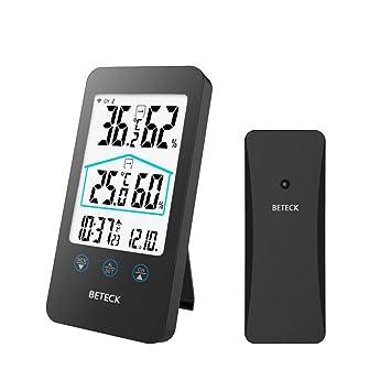 BETECK Estación meteorológica Inalámbrica, Termometro Higrometro Digital con Sensor Inalámbrico Externo, Medidor de Humedad y Temperatura, Reloj ...