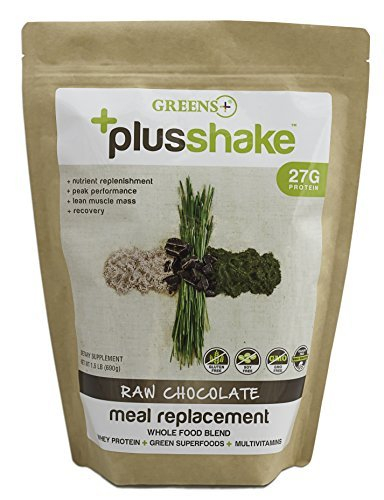 Greens+ Plus Shake Raw Chocolate Meal Replacement Whole Food Blend - Non-GMO & Gluten Free Dietary Supplement | Whey Protein + Greens Superfood + Multi-Vitamins | 1.5 lb Powder Bag