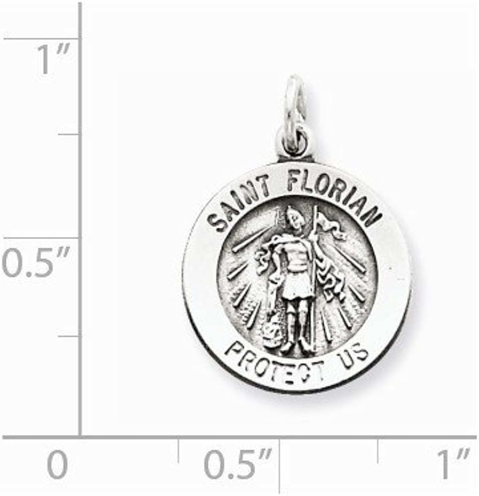 Sterling Silver Antiqued Saint Florian Medal on a Sterling Silver Cable Snake or Ball Chain Necklace