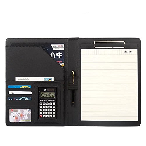 A4 PU Leather Conference Folder Personal Organizer Executive Business Resume Portfolio Padfolio with Calculator/Pen Slot/Card Holders/Document Folder/Paper Pad (Black)