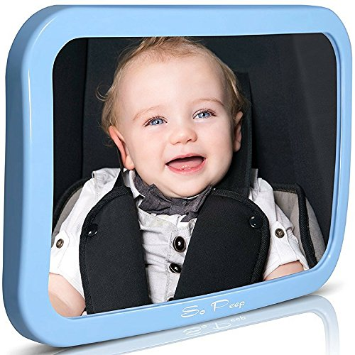 Baby Backseat Mirror for Car - Blue | View Infant in Rear Facing Car Seat - 100% Lifetime Satisfaction Guarantee - Best Newborn Safety With Secure Headrest Double-Strap (Blue)