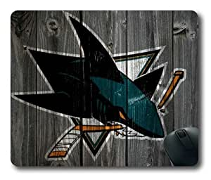 San Jose Sharks Wooden Background of NFL Sports Team logo Rectangle Shaped Mouse Pad by Skynessky