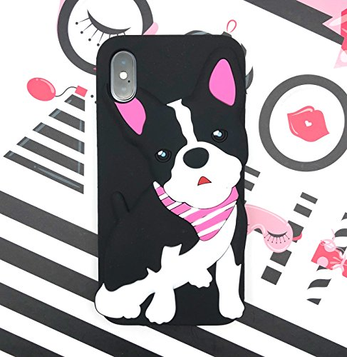 ([CaserBay] iPhone X Phone Case 3D Cute Cartoon Kawaii Animal Series Soft Silicone Rubber Case Cover (Boston Terrier A, For iPhone X 5.8