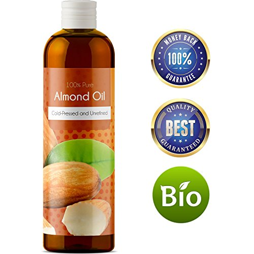 100% Pure Sweet Almond Oil for Skin Nails and Hair Growth Aromatherapy Carrier Oil Moisturizing Anti-Aging Treatment Massage Oil for Stretchmarks Scars Dark Circles Wrinkles Beauty Oil for Smooth (Almond Sweet Pure Carrier Oil)